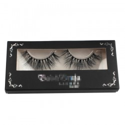 black luxry custom packing with window for eyelash CPB30