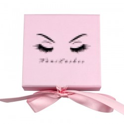 Custom Baby Pink Square Magnetic eyelash packaging with pink ribbon CMB138