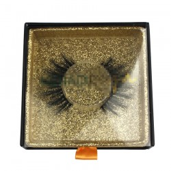 Custom Black Square magnetic eyelash packaging with PVC window CMB130