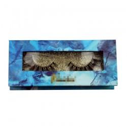 Custom blue handmade window gillter magnetic eyelash packaging with your logo CMB051
