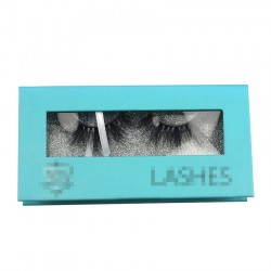 Custom blue window cardboard paper magnetic eyelash packaging with your logo CMB053