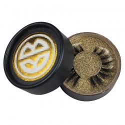 custom cute dark grey circle eyelash packaging with  foil stamped logo on  top  -CCB06