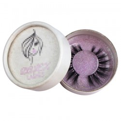 custom cute white circle eyelash packaging with  foil hot stamped logo light purple glitter paper inside CCB08