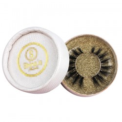 custom cute white faux snakeskin circle eyelash packaging with gold logo -CCB09