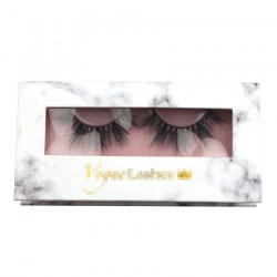 Custom fashion marble&pink window magnetic eyelash packaging with hot stamping your logo CMB055
