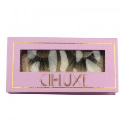 Custom fashion purple&gold trim gillter window magnetic eyelash packaging with your logo CMB056