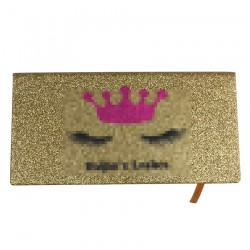 Custom Gold glitter Magnetic eyelash packaging with Hot Pink inner box CMB121