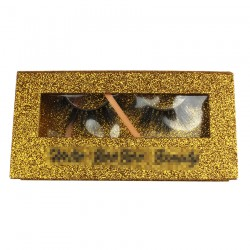 Custom Golden Glitter Magnetic eyelash packaging with black writing CMB126