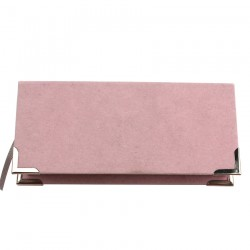 custom luxury light pink velvet eyelash packaging with silver corner protectors CVMB01