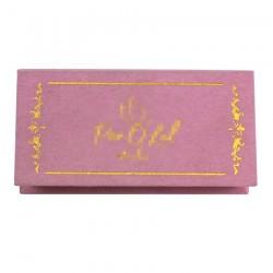 custom luxury pink velvet eyelash packaging with golden logo hot stamped CVMB02