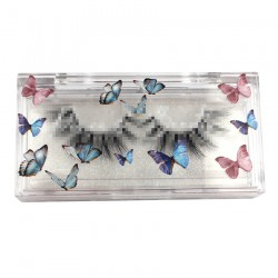 custom luxury rectangle butterflies acrylic eyelash clear packaging with logo printings CAB02