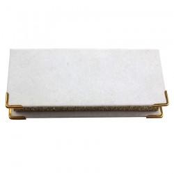 custom luxury white velvet eyelash packaging with gold corner protectors and gold glitter CVMB04