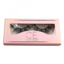 custom paper eyelash packing in light pink with logo and trim CPB20