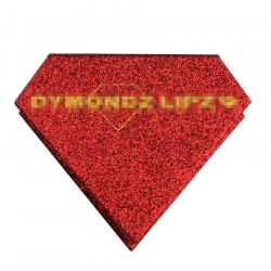 custom red glitter color sparkling diomand magnetic eyelash packaging with golden color logo printed CDMB06