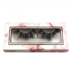 pink marble paper eyelash packing for custom with trim CPB12