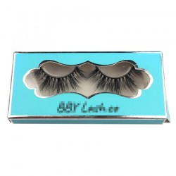 bright blue paper eyelash packing custom with sliver trim around the window CPB26