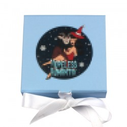 Custom Baby Blue Square magnetic eyelash packaging with white ribbon CMB136