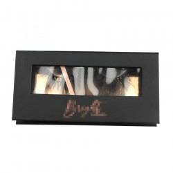 Custom beauty black&rose gold without gliiter window magnetic eyelash packaging with hot stamping your logo CMB050