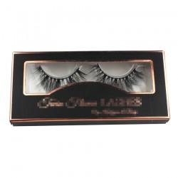 custom black eyelash packing with gold trim CPB08