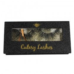 Custom Black Glitter Magnetic Eyelash packaging with regular window CMB124