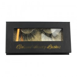 Custom black&gold gillter window magnetic eyelash packaging with hot stamping your logo CMB076