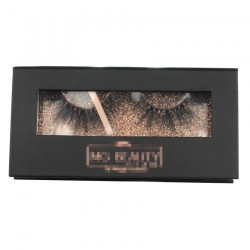 Custom black&rose gold gillter window magnetic eyelash packaging with hot stamping your logo CMB078