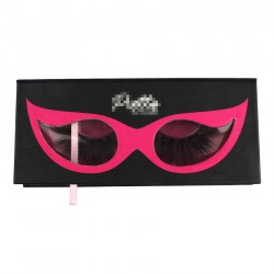Custom black&rose red glasses window magnetic eyelash packaging with  your logo CMB095