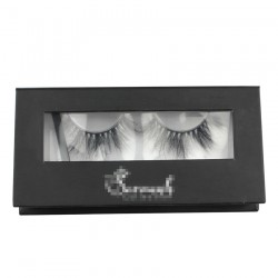 Custom black&white window magnetic eyelash packaging with hot stamping your logo CMB079