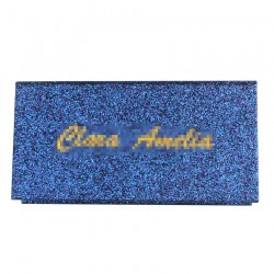 Custom Blue Glitter Magnetic eyelash packaging without window CMB122