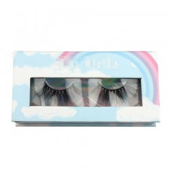 Custom blue rainbow window magnetic eyelash packaging with your logo CMB052