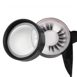 custom cute black ribbon  faux snakeskin circle eyelash packaging with logo -CCB01