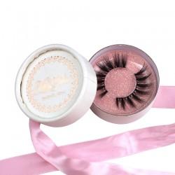 custom cute pink ribbon white faux snakeskin circle eyelash packaging with rose gold logo -CCB10