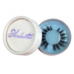 custom cute white circle eyelash packaging with blue foil hot stamped logo blue glitter paper inside CCB07