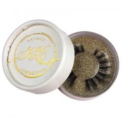 custom cute white circle eyelash packaging with gold logo CCB04