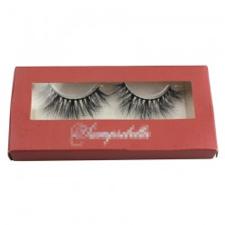 custom eyelash packing with window in red CPB05