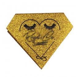 custom gold glitter color sparkling diomand magnetic eyelash packaging with black color logo hot stamped CDMB05