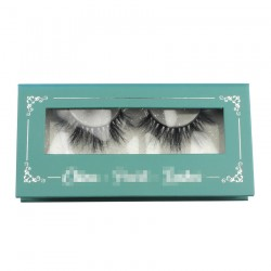 Custom green silver trim window magnetic eyelash packaging with your logo CMB057