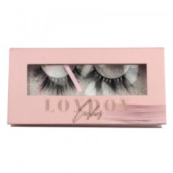 Custom handmade pink&white gillter window magnetic eyelash packaging with 3D printing your logo CMB058