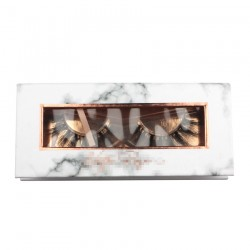 Custom high quality marble color&rose gold trim window magnetic eyelash packaging with hot stamping your logo CMB059