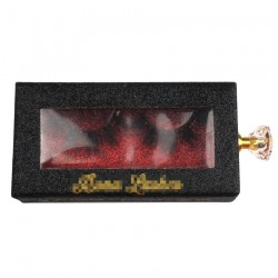 custom luxury black glitter slider hot stamping logo eyelash packaging  with gold knobs CGSB04