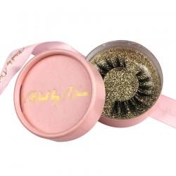 custom luxury cute pink ribbon pink circle eyelash packaging with  gold hot stampted logo -CCB12