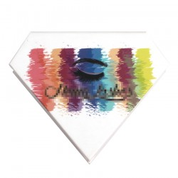 custom white color diomand magnetic eyelash packaging with rainbow color logo printed CDMB03
