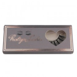 dark brown custom paper eyelash packing with rose gold trim and heart window CPB23