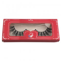 red custom papper eyelash  packing with sliver trim CPB10