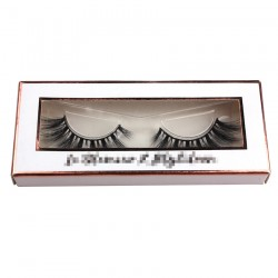 simple white packing custom with golden trim for eyelash CPB27